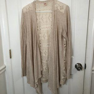 Mossimo Ivory Open Drape Lace Back Cotton Cardigan